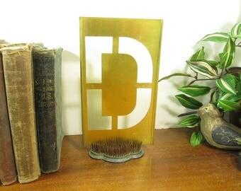 Brass Stencil D  8 1/4 Inch Brass Letter Monogram