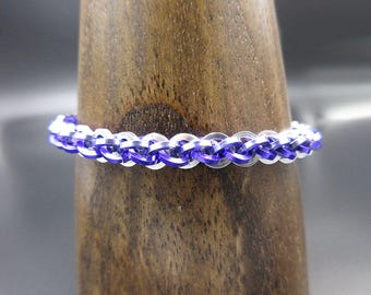 Purple Lavender and Silver Jens Pind Linkage Chainmaille Bracelet