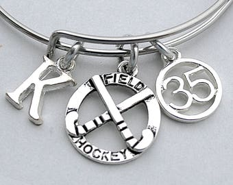Field Hockey Bangle Bracelet, Stainless Steel Bangle, Personalize, Birthstone, Initial, Hockey Sticks, Jersey Number, Gift For Her