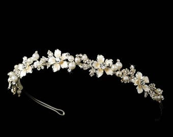 Pearl And Crystal Champagne Bridal Headband Tiara With Ivory Pearls And Crystals, Crystal And Pearl Tiara, Wedding Headpiece, Bridal Crown