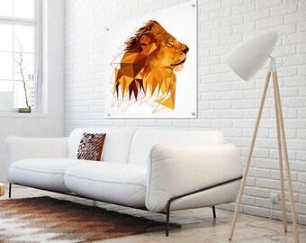 Lion Print, Extra Large, Safari Baby Nursery Animal Print, Brown yellow, African Animal, Digital Print, Jungle Animal Wall Art, Zodiac Leo