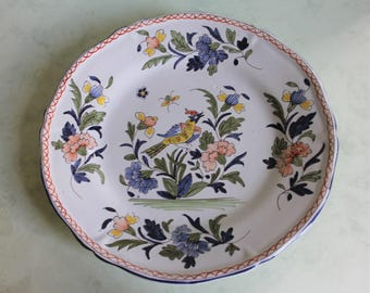 Rare Antique Collectible French Faience Rouen Hand Painted Plate/Tin Glaze Pottery