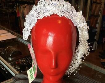 Vintage 50's-60's Bridal Wreath White Satin Floral Wedding Headpiece Pearl Vine Tiara Crown