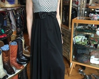 Vintage 60's Long Dress Sleeveless Formal Dress Black and White Gown