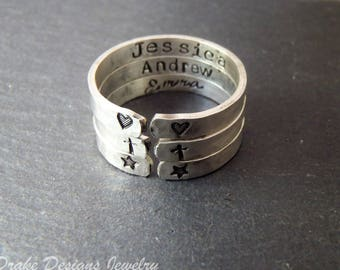 Sterling silver Personalized ring with name or custom message inside