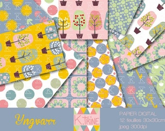 "Digital ""Yngvarr"" 12 paper sheets to download for scrapbooking"