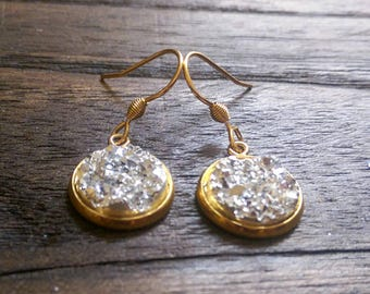 Sparkly Faux Druzy Stud Earrings made of Stainless Steel Gold Choose colour 12mm