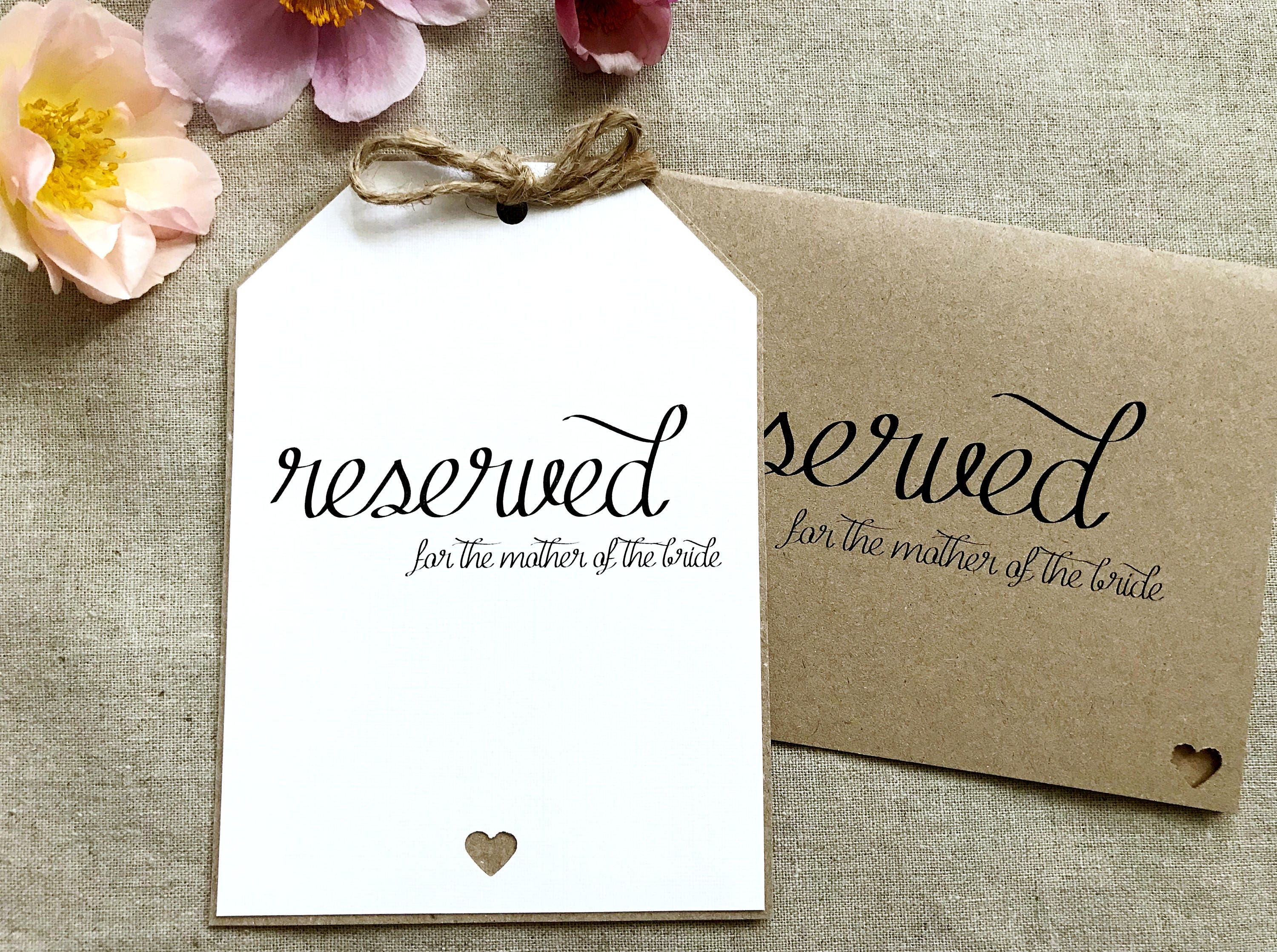 Wedding Reserved Card Favour Sign Decoration Stationery Luggage Tag ...