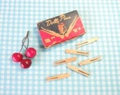 Vintage Dolly Pins in Original Box - 24 Pieces - Doll Clothes Pins - Dolly Pegs -  Mid Century Vintage 1950's