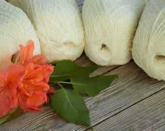 Set of 4 - Cobweb cream color merino wool yarn - haapsalu shawl yarn