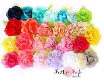 Chiffon Rose with Leaf Flower- You Choose Quantity- Chiffon Rose Flower- Shabby Rose- Supply Shop- Flower Supply- DIY Supply