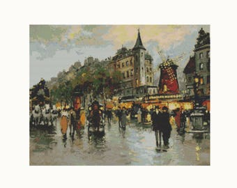 Cross Stitch Kit Le Moulin Rouge by Antoine Blanchard, France Cross Stitch, Embroidery Kit, Needlework DIY Kit (BLANC04)