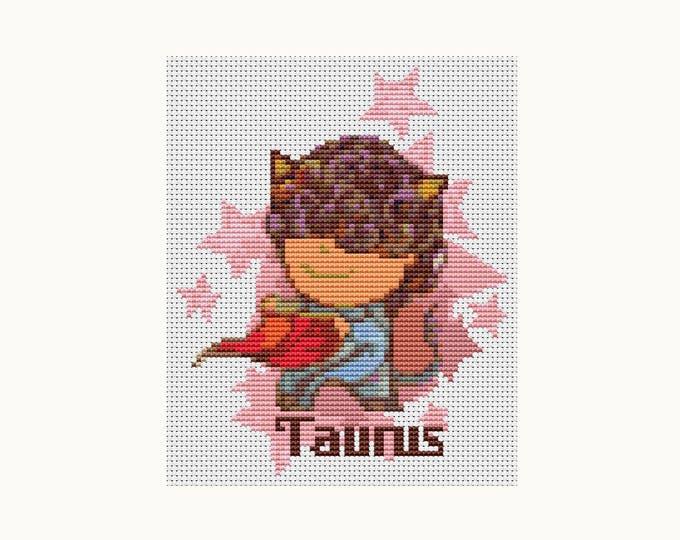 Cross Stitch Pattern PDF, Embroidery Chart, Zodiac Cross Stitch, Astrology, Horoscope, Zodiac Series: Taurus (TAS077)
