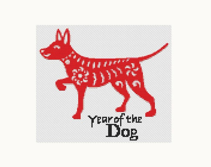 Year of the Dog, Chinese Zodiac Cross Stitch, Art Cross Stitch (TAS111)