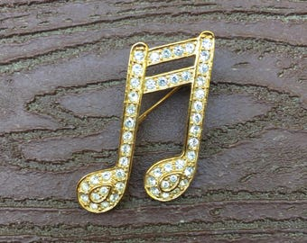Vintage Signed Roman Jewelry Pin Brooch Musical Notes Music Lover