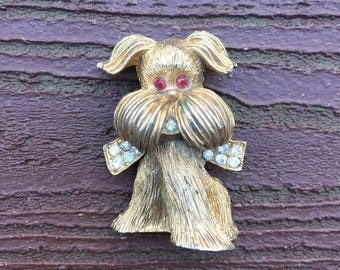 Vintage Jewelry 60s Adorable Dog Pin Brooch