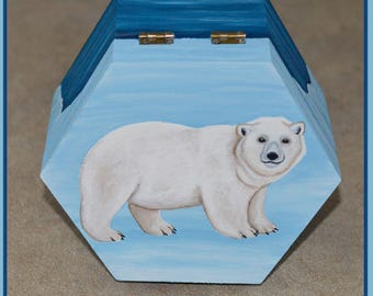 Polar Bear Wooden Trinket Box, Suitable for Jewellery, Storage, Crafts etc, Ursus maritimus, White Bear, Arctic, Wildlife, Gift Idea