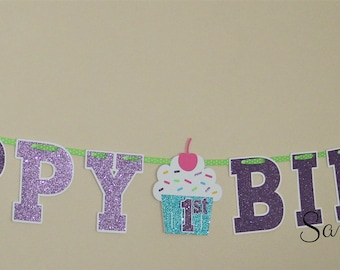Cupcake and Sprinkles Happy Birthday Letter Banner - Purple Glitter, Aqua Glitter, Candy Pink, Yellow, Lime Green