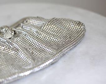1960s Silver Whitings and Davis Handbag // 1960s mesh handbag // vintage purse