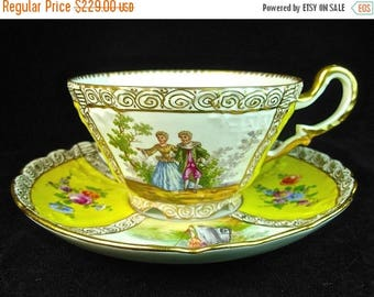 ON SALE RICHARD Klemm Dresden Breakfast Cup and Saucer, Yellow, Courting Scenes, 19th C Porcelain, Germany