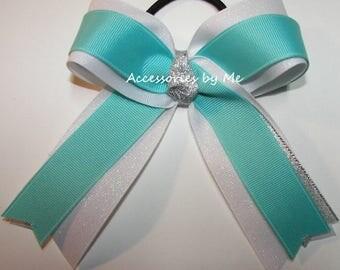 Gymnastics Bow, Sparkly Gymnastic Clip, Aqua White Silver Ribbons, Gymnast Hair Ties Elastics, Aqua Blue Dance Cheer Bows, Bulk Cheap Price
