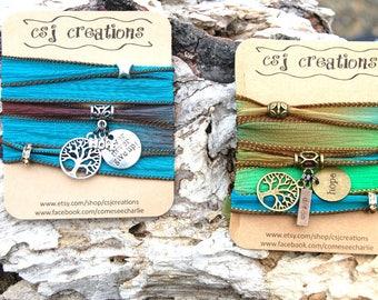 Personalized Tree of Life Wrap Bracelet, Personalized Gifts For Her, Personalized Yoga Bracelet, Personalized Boho Bracelet, Gypsy Bracelet