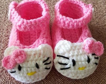 Kitty crochet baby shoes