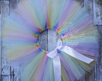 Rainbow Tutu- Tutu- Princess Tutu- Pastel Rainbow Tutu- Tutu- Baby Tutu- Toddler Tutu- Birthday Tutu- First Birthday Tutu- Cake Smash Tutu