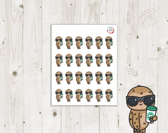 Lazy Sloth Coffee Planner Stickers - ECLP Stickers