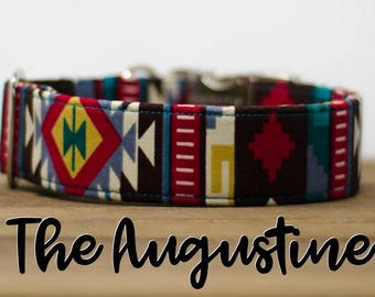 """Colorful Aztec Inspired Dog Collar """"The Augustine"""""""