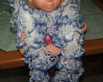 NEW model: Scarf mirabella white and blue ruffles