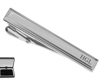 Personalized Tie Clip, Silver Tie Clip, Engraved Tie Clip, Custom Tie Clip, Tie Bar, Groomsmen Gift, Gifts For Men, Buy 6 Get 7th Free