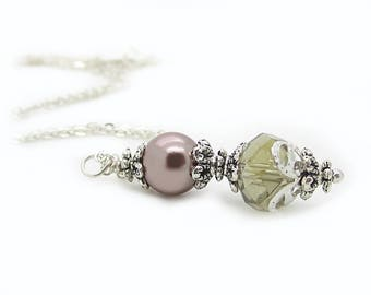 Taupe Crystal Bridesmaid Necklace, Beige Pearl Jewellery, Bridal Party Gift, Taupe Wedding Sets, Beige Weddings, Pearl and Crystal Necklace
