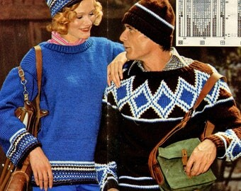 His + Hers Ski Sweaters • 1970s Knitting Men's Women's Pullover Jumper Pattern • Vintage 70s Patterns • Retro Yarns • Instant Download
