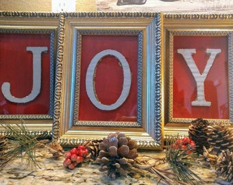 "3 frames 1 word ""JOY"" Christmas decor"