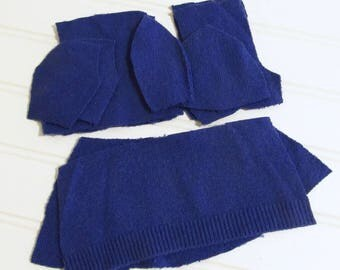 Sweater Doll Kit - ROYAL BLUE - Upcycled Cloth Doll Kit