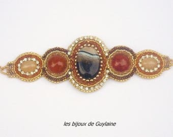 Embroidered cuff bracelet with cabochons agate stone crystal