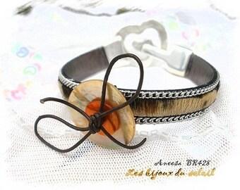 Hair leopard leather bracelet * Aneesa BR428 *.