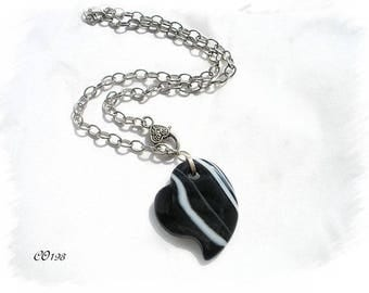 ethnic CO193 black agate Heart Necklace