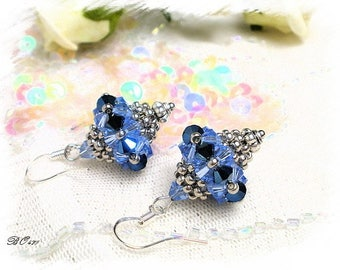 Blue earrings woven glass beads - BO471