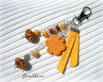 Bag charm orange unique designer * GERALDINE BS89