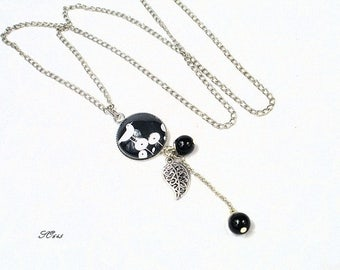 Necklace black and silver bird and leaf * SO645