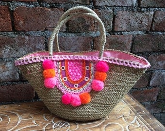 Beads Fuxia  Pompom Handmade Rattan; Bali bags; ; Boho bag; Hippie Bags; Made from Bali, Indonesia