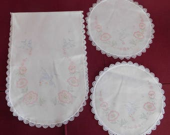 vintage Doily and Dresser Scarf Runner stamped embroidery matching set of 3