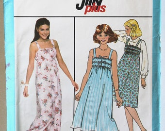 Vintage 1970s Women's Ruched Drawstring Bodice Sun Dress Sewing Pattern Size 13/14 Bust 33.5 Simplicity 8505