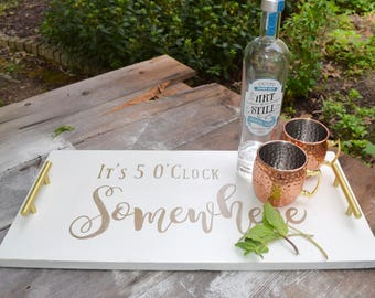 Hand Painted Serving Tray - It's 5 O'clock Somewhere