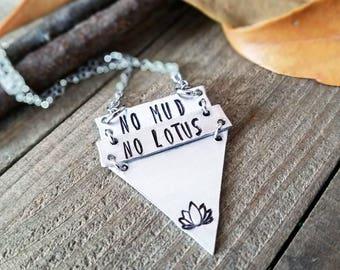 Yoga necklace - no mud no lotus necklace - yoga lotus - no mud no lotus jewelry - yoga jewelry - yoga lover - lotus necklace - lotus flower