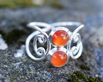 Double Carnelian Sterling Silver Ring Size 10 1/2