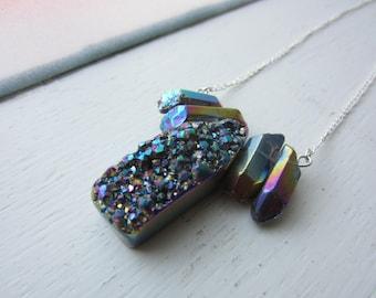 Titanium Druzy Pendant Necklace Handmade