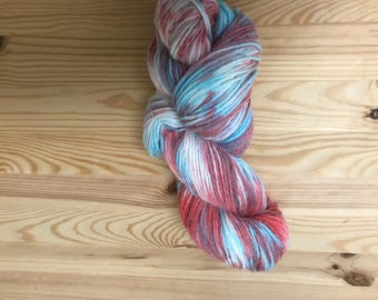 dyed Sock yarn -  fingering weight - Variegated Yarn -  Merino wool - hand dyed wool- indie dyed yarn - merino wool - sock yarn - Variegated